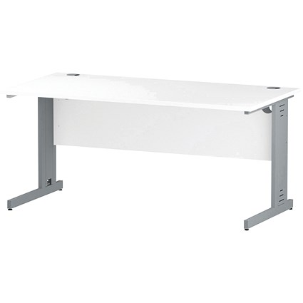 Impulse Plus Rectangular Desk, 1600mm Wide, Silver Cable Managed Legs, White