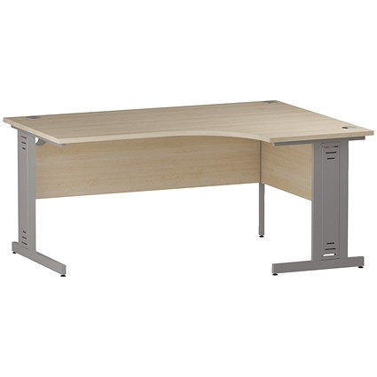 Impulse Plus Corner Desk, Right Hand, 1600mm Wide, Silver Cable Managed Legs, Maple
