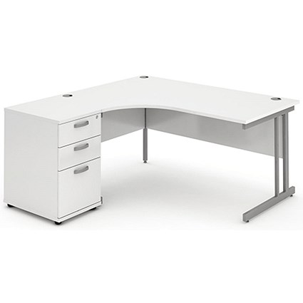 Impulse Corner Desk with 600mm Pedestal, Left Hand, 1600mm Wide, White, Installed