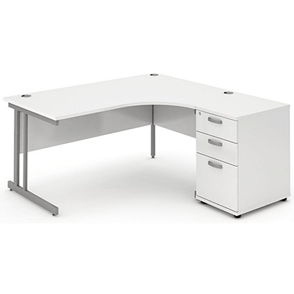 Impulse Corner Desk with 600mm Pedestal, Right Hand, 1600mm Wide, Silver Legs, White, Installed