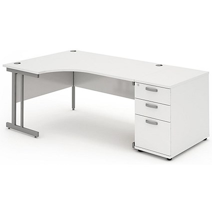 Impulse Corner Desk with 800mm Pedestal / Left Hand / 1600mm Wide / White