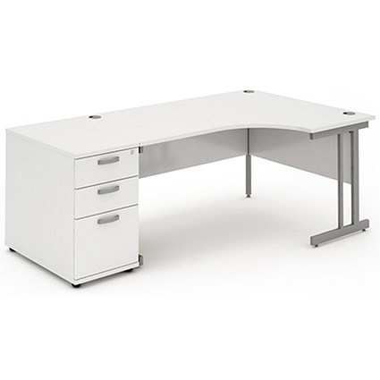 Impulse Corner Desk with 800mm Pedestal, Right Hand, 1600mm Wide, Silver Legs, White