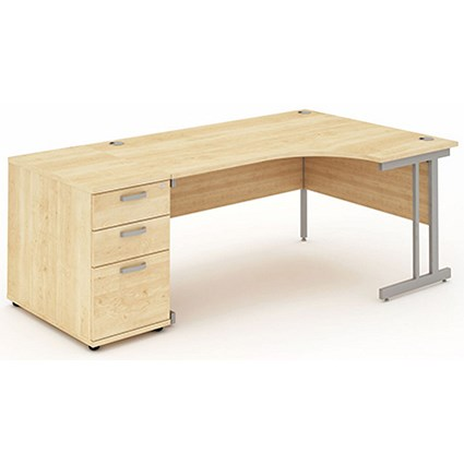 Impulse Corner Desk with 800mm Pedestal / Right Hand / 1600mm Wide / Maple