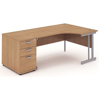 Impulse Corner Desk with 800mm Pedestal, Right Hand, 1800mm Wide, Silver Legs, Beech
