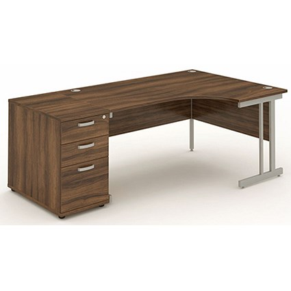 Impulse Corner Desk with 800mm Pedestal, Right Hand, 1800mm Wide, Silver Legs, Walnut