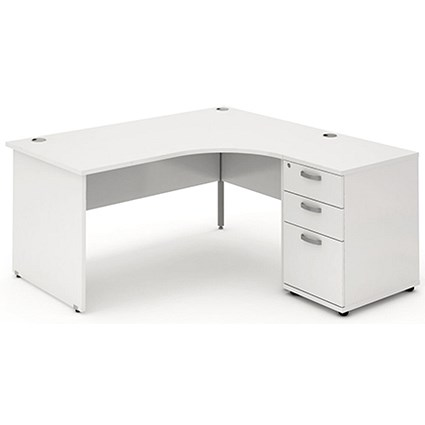 Impulse Panel End Corner Desk with 600mm Pedestal, Right Hand, 1600mm Wide, White