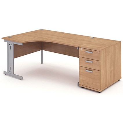 Impulse Plus Corner Desk with 800mm Pedestal, Left Hand, 1800mm Wide, Silver Cable Managed Legs, Beech