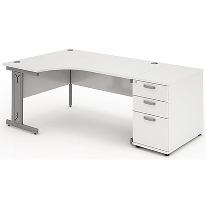 Impulse Plus Corner Desk with 800mm Pedestal, Left Hand, 1800mm Wide, White