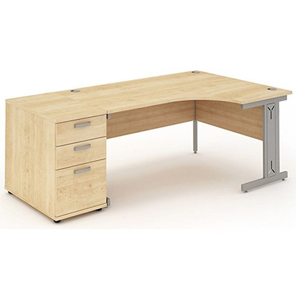 Impulse Plus Corner Desk with 800mm Pedestal, Right Hand, 1600mm Wide, Silver Cable Managed Legs, Maple