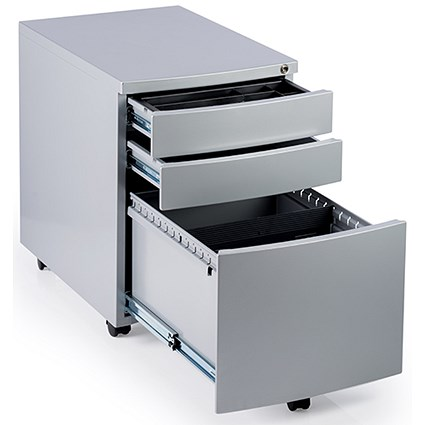 Impulse 3 Drawer Steel Mobile Pedestal, Silver