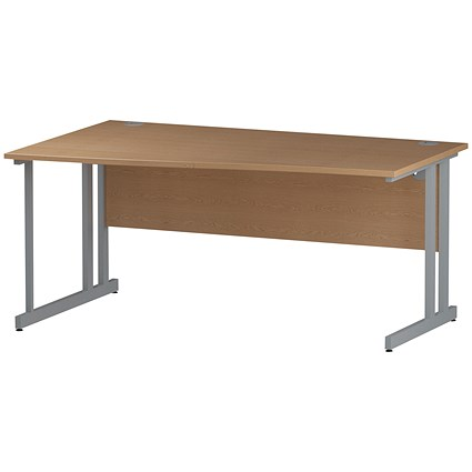 Impulse Wave Desk, Left Hand, 1600mm Wide, Oak