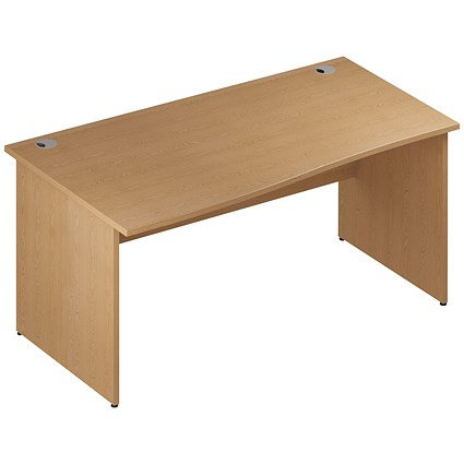 Impulse Panel End Wave Desk, Left Hand, 1600mm Wide, Oak