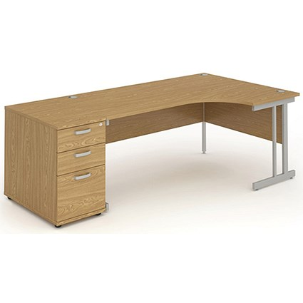 Impulse Corner Desk with 800mm Pedestal, Right Hand, 1800mm Wide, Silver Legs, Oak
