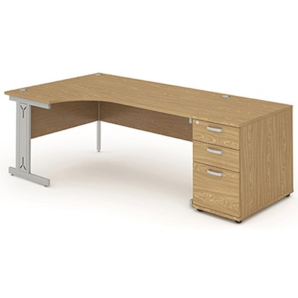 Impulse Plus Corner Desk with 800mm Pedestal, Left Hand, 1800mm Wide, Oak