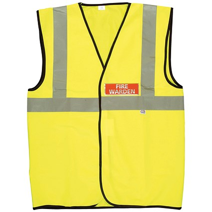 Fire Warden Vest High Visibility XL Yellow (Conforms to EN471 Class 2)