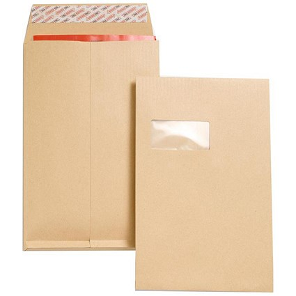 New Guardian C4 Gusset Envelopes with Window / 25mm Gusset / Peel & Seal / Manilla / Pack of 100