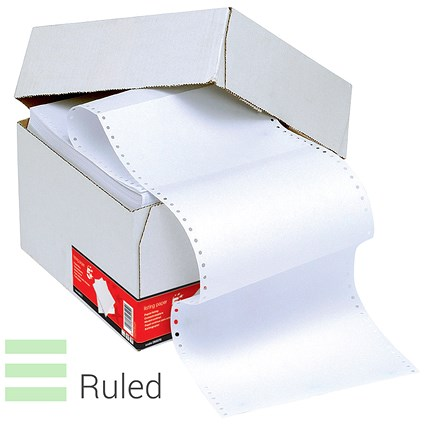 Computer Listing Paper / 1 Part / 11 inch x 368mm / White & Green / Ruled / 70gsm / Box (2000 Sheets)