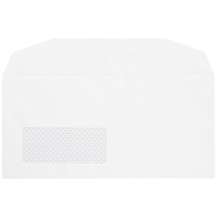 Postmaster DL Wallet Envelopes with Window, 90gsm, Gummed, White, Pack of 500