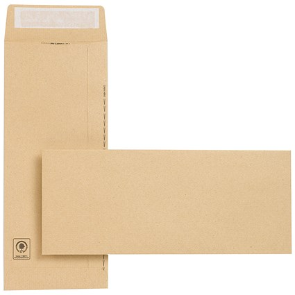 New Guardian Heavyweight Pocket Envelopes, 305x127mm, Manilla, Peel & Seal, 130gsm, Pack of 250