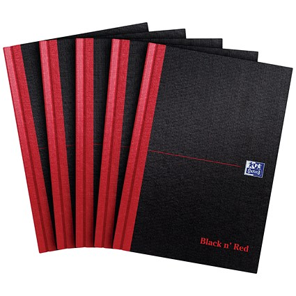 Black n' Red Casebound Notebook, A5, Ruled, 192 Pages, Pack of 5