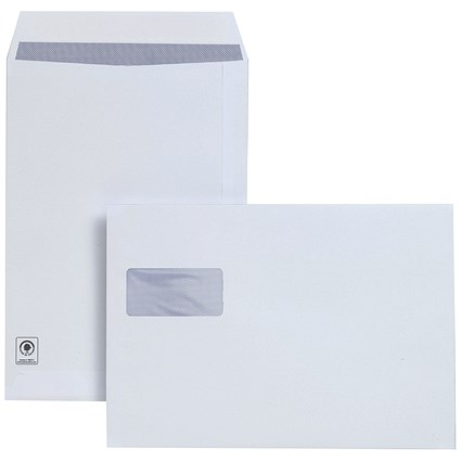 Plus Fabric C4 Pocket Envelopes, Window, Peel & Seal, Horizontal 120gsm, White, Pack of 250