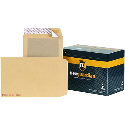 New Guardian C4 Heavyweight Board-backed Envelopes, 130gsm, Peel & Seal, Manilla, Pack of 125