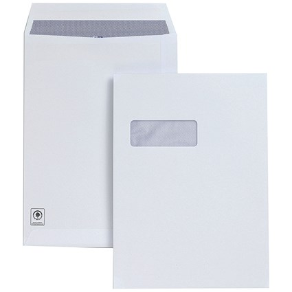 Plus Fabric C4 Pocket Envelopes with Window, Press Seal, 120gsm, White, Pack of 250