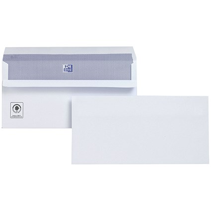 Plus Fabric Plain DL Wallet Envelopes, White, Press Seal, 120gsm, Pack of 250