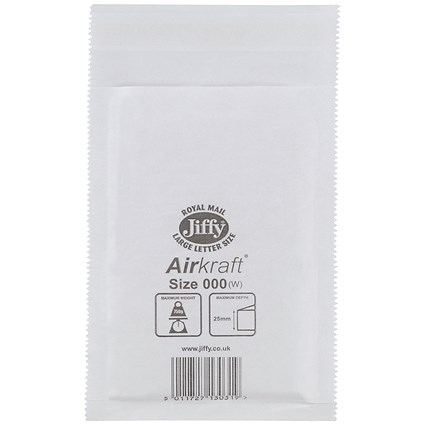 Jiffy Airkraft No.000 Bubble-lined Postal Bags, 90x145mm, Peel & Seal, White, Pack of 150