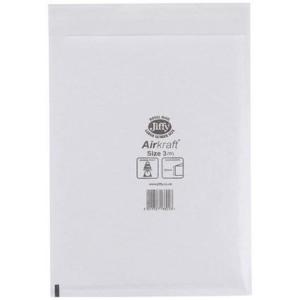 Jiffy Airkraft No.3 Bubble-lined Postal Bags, 220x320mm, Peel & Seal, White, Pack of 50