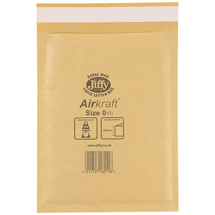 Jiffy Airkraft No.0 Bubble Bag Envelopes, 140x195mm, Gold, Pack of 100