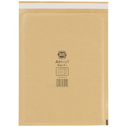 Jiffy Airkraft No.5 Bubble Bag Envelopes, 260x345mm, Gold, Pack of 50