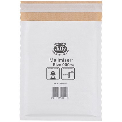 Jiffy Mailmiser Size 000 90x145mm Wht MM-000 (Pack of 150) JMM-WH-000
