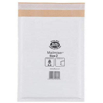Jiffy Mailmiser No.2 Bubble-lined Protective Envelopes, 205x245mm, White, Pack of 100