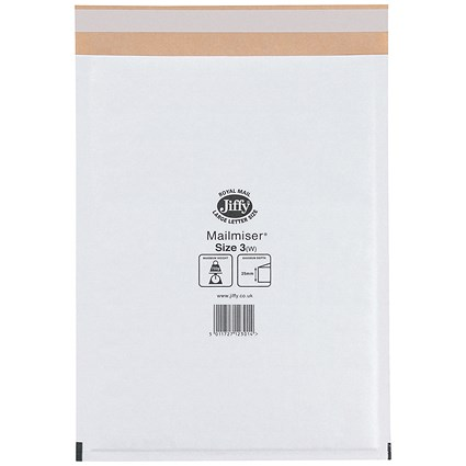 Jiffy Mailmiser No.3 Bubble-lined Protective Envelopes, 220x320mm, White, Pack of 50