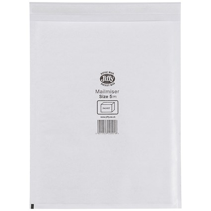 Jiffy Mailmiser No.5 Bubble-lined Protective Envelopes, 260x345mm, White, Pack of 50