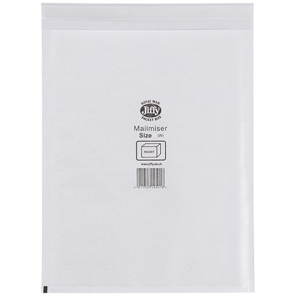 Jiffy Mailmiser No.7 Bubble-lined Protective Envelopes, 340x445mm, White, Pack of 50