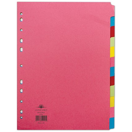 Concord Contrast File Dividers, 12-Part, A4, Assorted