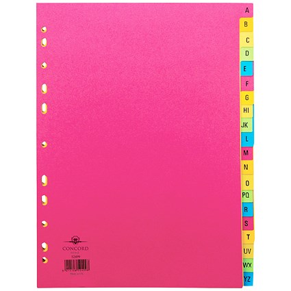 Concord Contrast File Dividers, A-Z, A4, Assorted, Pack of 10