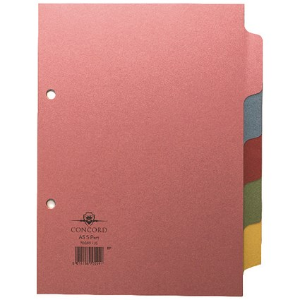 Concord Subject Dividers, 5-Part, A5, Assorted