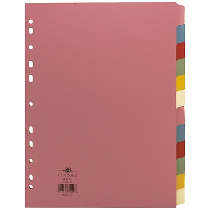 Concord Subject Dividers, 12-Part, A4, Assorted