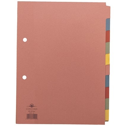 Concord Subject Dividers, 10-Part, A5, Assorted