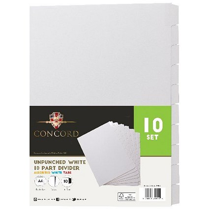 Concord Unpunched Divider 10-Part A4 150gsm White (Pack of 10)