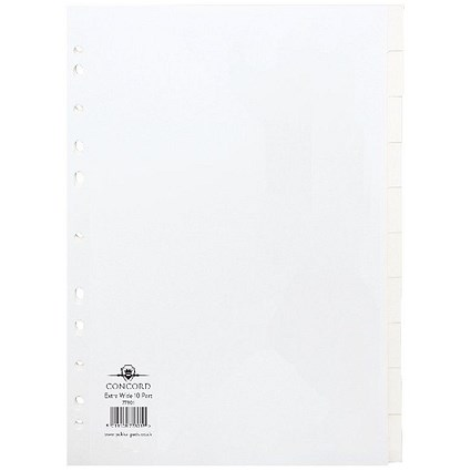 Concord Subject Dividers, Extra Wide, 10-Part, A4, White