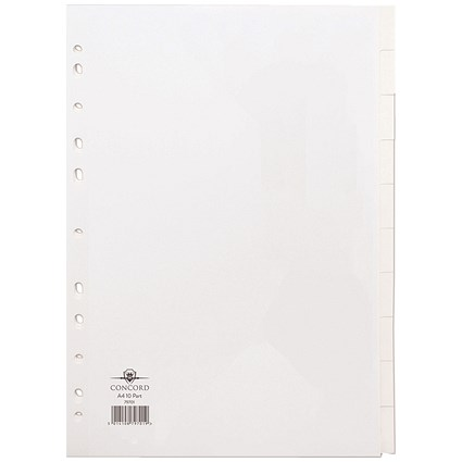 Concord Subject Dividers, 10-Part, A4, White