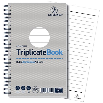Challenge Wirebound Carbonless Triplicate Book, Ruled, 50 Sets, 210x130mm, Pack of 5