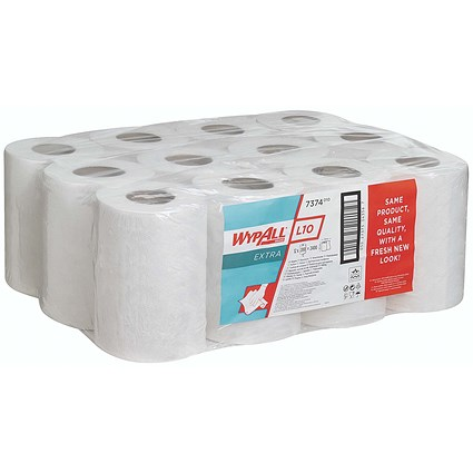 Wypall L10 Centrefeed Wiper Refills, 1-Ply, White, 12 Rolls of 200 Sheets