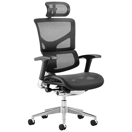 Ergo-Dynamic Posture Chair with Headrest, Black Frame, Black