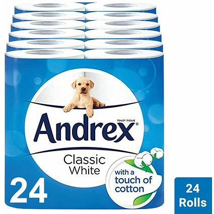 Andrex Classic Clean Toilet Roll, Pack of 24