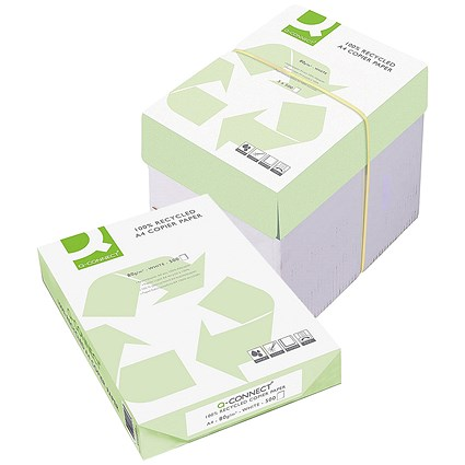Q-Connect A4 Recycled Copier Paper, White, 80gsm, Box (5 x 500 Sheets)